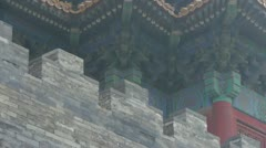 Ancient city Great Wall texture.roof of Forbidden City palace. Stock Footage