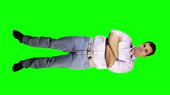 Young Man Arms Crossed Smiling Full Body Greenscreen Stock Footage