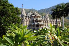 hinduism temple ranakpur in india - stock photo