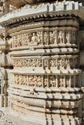 hinduism ranakpur temple fragment - stock photo