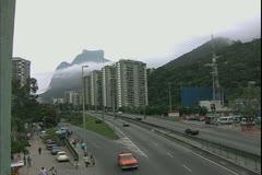 Rio de Janerio, Brazil, pan right to Favela's, slums of Rio Stock Footage