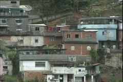 Rio de Janerio, Brazil, the favelas of Rio, huge slums, close shot Stock Footage