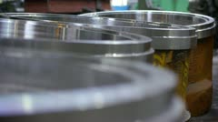 stock video footage big metallic parts in factory - stock footage