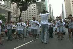 Carnival in Rio, Carnaval, daytime, tambourine samba band, wide shot Stock Footage