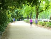 4K, People jogging in the Park, Melbourne Stock Footage