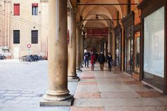 portico on piazza galvani in bologna, italy - stock photo
