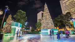 Time Lapse of people taking photos by a big christmas tree Stock Footage