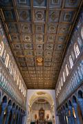 wooden ceiling of nave sant apollinare nuovo in ravenna - stock photo