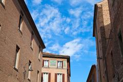 medieval houses in ferrara, italy - stock photo