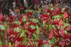Carnival in Rio, Carnaval, Samba Parades, close, men samba, Indian costume Stock Footage