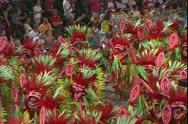 Carnival in Rio, Carnaval, Samba Parades, close, men samba, Indian costume Stock Footage