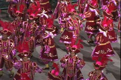 Carnival in Rio, Carnaval, Samba Parades, men samba in colonial outfits Stock Footage