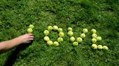 Speed up female male people hand dismantle word love apples Stock Footage