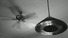 Old ceiling fan, B&W slowed down Stock Footage