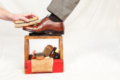 Antique shoe shine box Stock Photos