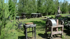Old agricultural rusty tools collection museum exhibition Stock Footage