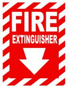 Fire extinguisher sign Stock Photos