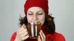 Nice girl drinking tea Stock Footage