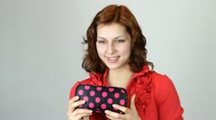 Girl gets from cosmetic bag, mascara Stock Footage