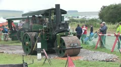 steam powered road roller 03 - stock footage
