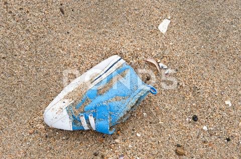 Stock photo of lost baby shoe