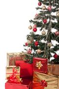 christmas tree and gifts. over white background. - stock photo