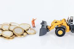 euro money coins with loader - stock photo