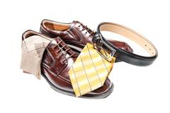 brown leather shoes with necktie - stock photo