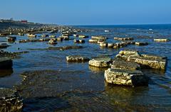 rocks at coast - stock photo
