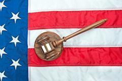 Gavel on american flag Stock Photos