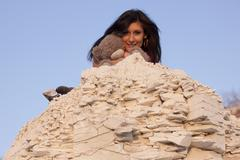 Brunette in the mountains_007 Stock Photos