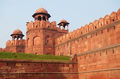 red fort in delhi, india - stock photo