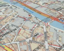 Repeaters on the map of the city Stock Footage