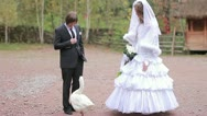 Sketch of the marrying couple with a goose. wedding Stock Footage