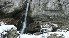 Waterfall, winter environment Stock Footage