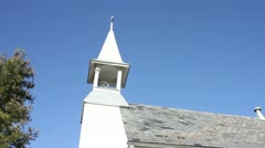 White Church in the Country with Blue Skies During Autumn Stock Footage