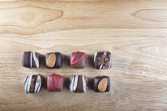 eight gourmet chocolates - stock photo