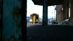 Train Entering Station at Borth (mid Wales) Stock Footage