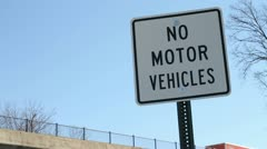 No Motor Vehicles Sign Stock Footage