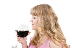 the young woman with a wine glass - stock photo