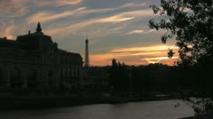 Stock Video Footage of Twilight over the Seine Time Lapse
