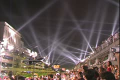 Carnival in Rio, Carnaval, nighttime, Sambadromo, crowds and searchlights - stock footage