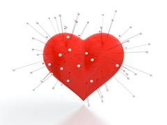 heart with needles - stock illustration