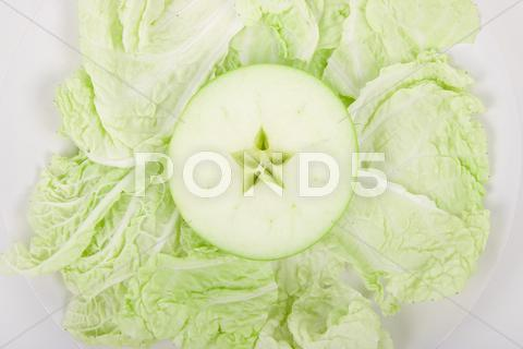 Stock photo of apple and salad sheet