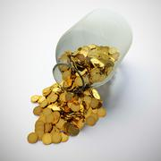 jar of golden coins - stock illustration