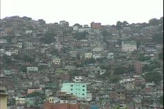 Rio de Janerio, Brazil, the favelas of Rio, huge slums, wide shot Stock Footage