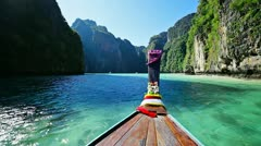 Moving on thai traditional wooden boat Stock Footage