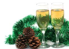 glasses of champagne in the new year - stock photo