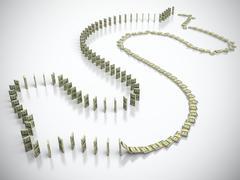 dollar domino - stock illustration