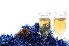 Glasses of champagne in the new year Stock Photos
